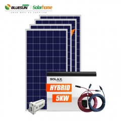 Home use hot sale hybrid 5KW solar pv system backup with batteries