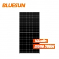 bluesun venta caliente media celda panel solar 370w 380w 390w perc panel solar 144 células panel solar